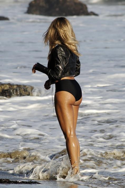 Ciara - wearing a bikini for a music video shoot in Malibu 08/19/12