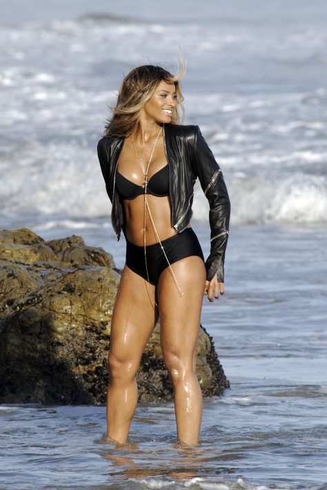 Ciara - wearing a bikini for a music video shoot in Malibu 08/19/12