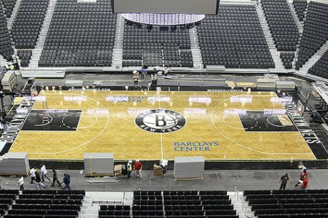 Brooklyn Nets new basketball court at the Barclays Center.