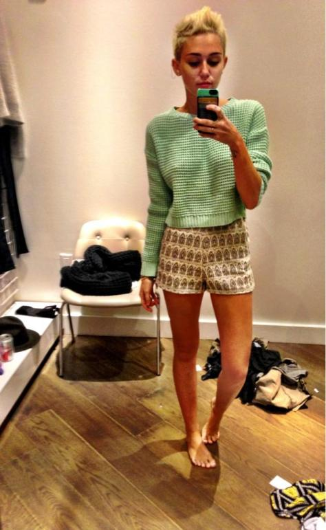 Miley Cyrus - Self-shot in a changing room, twitpic - 01/24/13